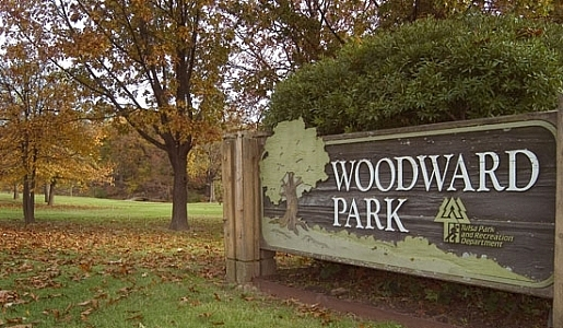 A picture with a sign that says Woodward Park
