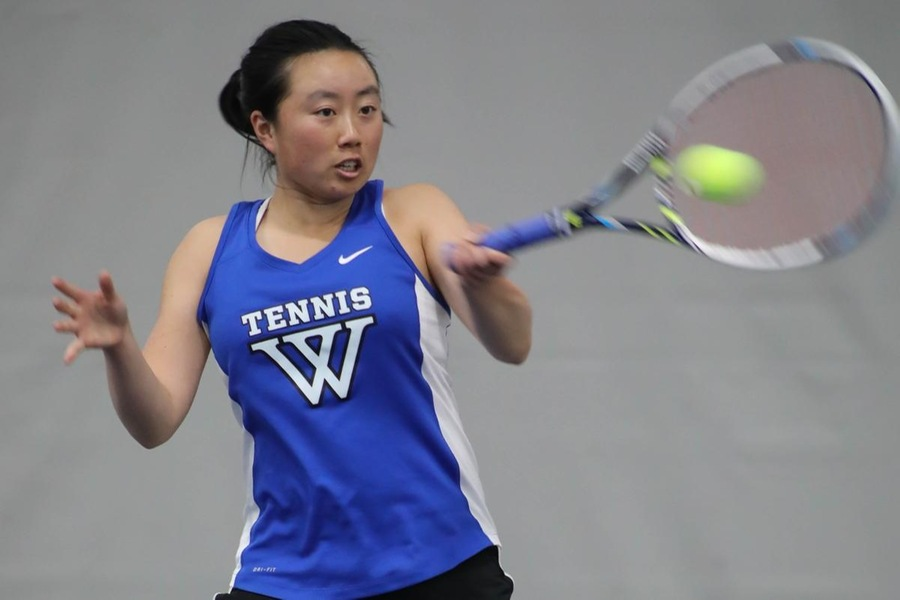 Junior Justine Huang is now 14-4 in No. 1 singles matches during the 2017-18 season (Miranda Yang '21).