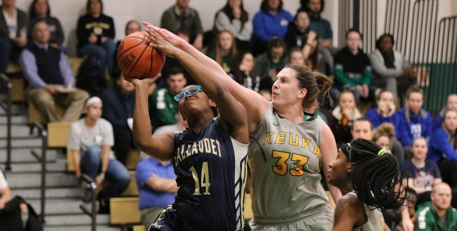 Abby Hess (33) had the block for Keuka against Gallaudet on Saturday -- Photo by Courtney Gleichauf