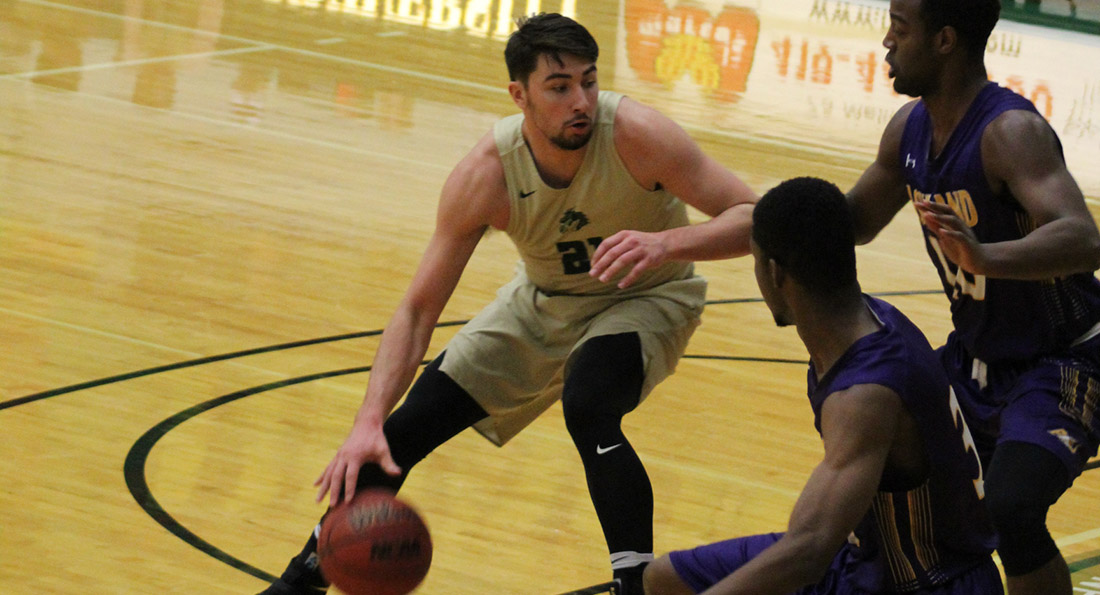 Austin Adams netted 18 points on 9 of 14 shooting while also leading Tiffin in boards with nine.