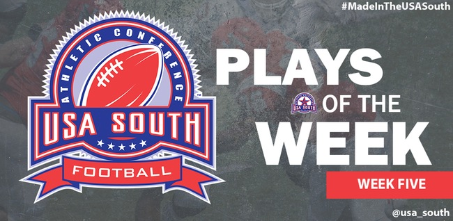 Wesleyan Football Featured on USA South Plays of the Week #6