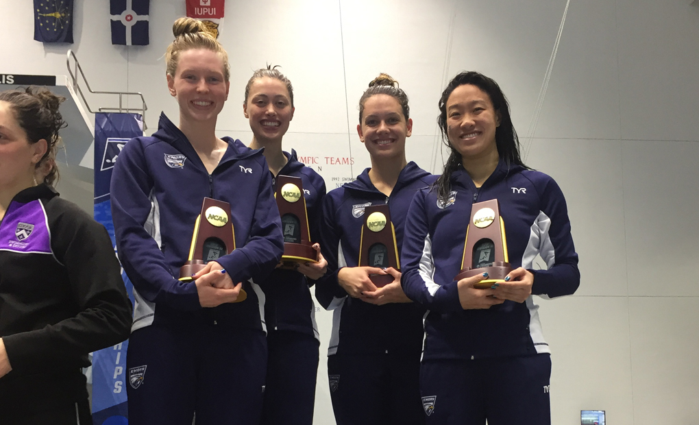 Women's 800 Freestyle Relay Breaks NCAA DIII Record; Eagles On Cusp of Ninth-Straight Title