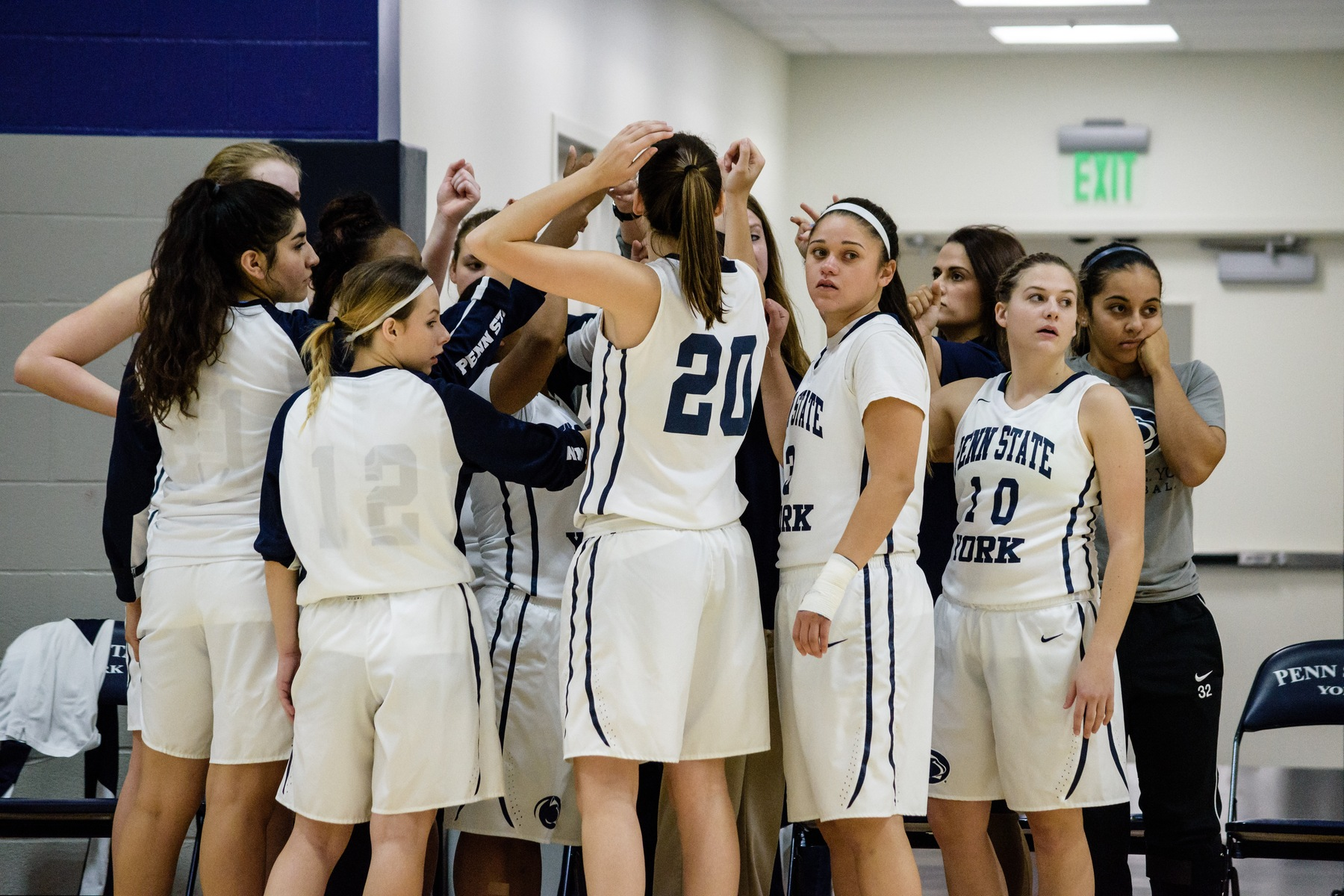 Penn State York Women's Basketball huddles in a timeout during a game earlier this season.