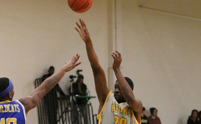 Trevor Powell (20) led Keuka College with 15 points on Saturday -- Photo by Ed Webber