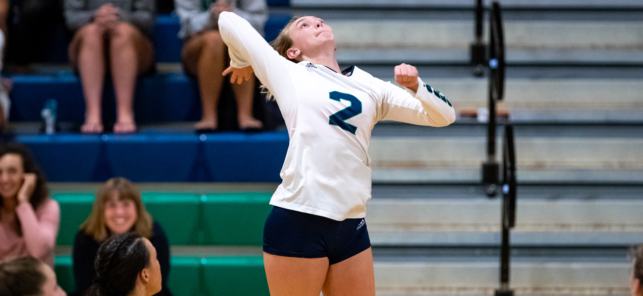 Outside hitter Remi Quesnelle takes a swing against MIT.