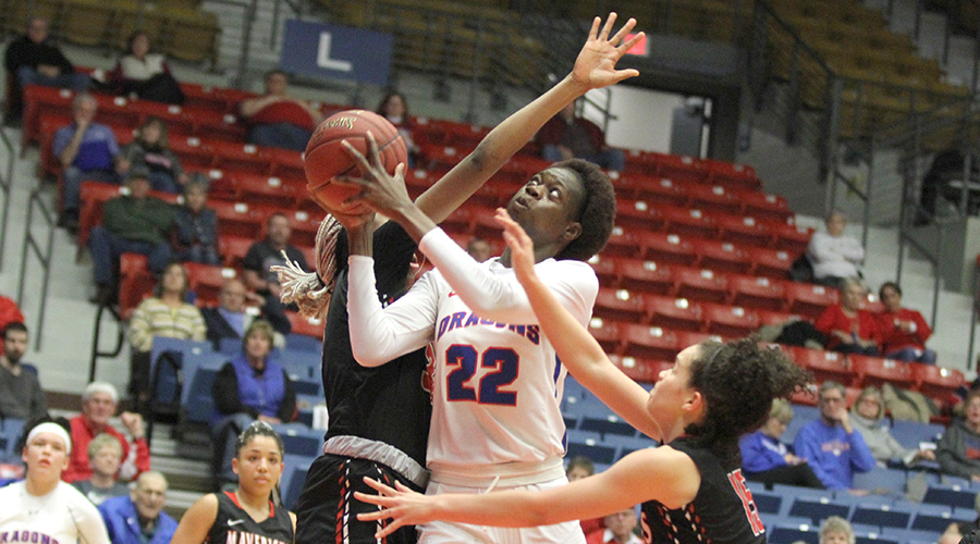 Nafatoumata Haidara had nine points and a career-best 14 rebounds in No. 10 Hutchinson's 67-48 Jayhawk West victory over Northwest Tech on Monday night at the Sports Arena. (Bre Rogers/Blue Dragon Sports Information)