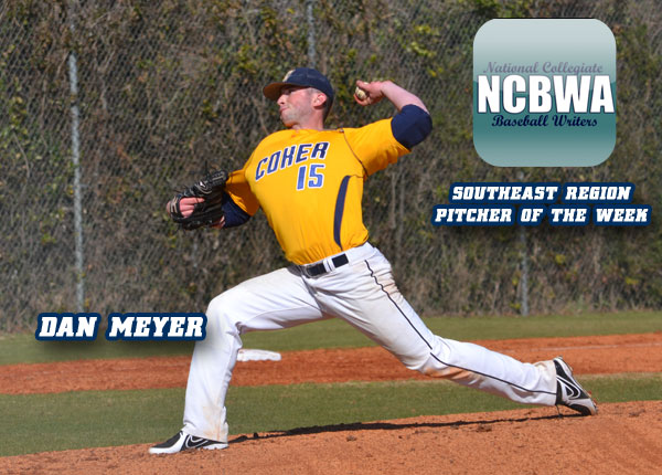 Meyer Named NCBWA Southeast Region Pitcher of the Week