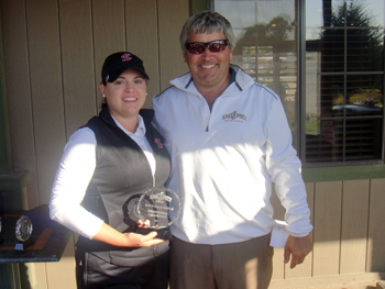 Balbina Guajardo is presented the individual trophy for winning the 2011 Lamkin Grip Invitational hosted by Cal Poly.