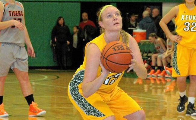Senior Brittany Hadley and the women's basketball rallied from an 11-point second half deficit before falling in overtime to Cazenovia Wednesday (photo courtesy of Ed Webber, Keuka College Sports Information department).