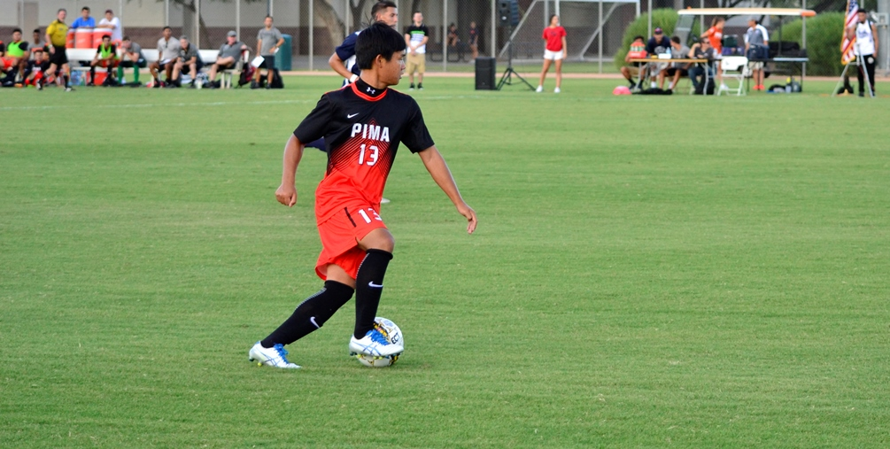 Sophomore Tatsuma Yuki scored a goal and had two assists in Pima's 8-0 shutout win at South Mountain Community College. Photo by Ben Carbajal/2016