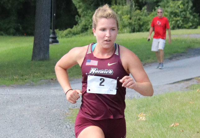 Carisa Dekalb women's cross country action at Plattsburgh State (Bill Dexter)