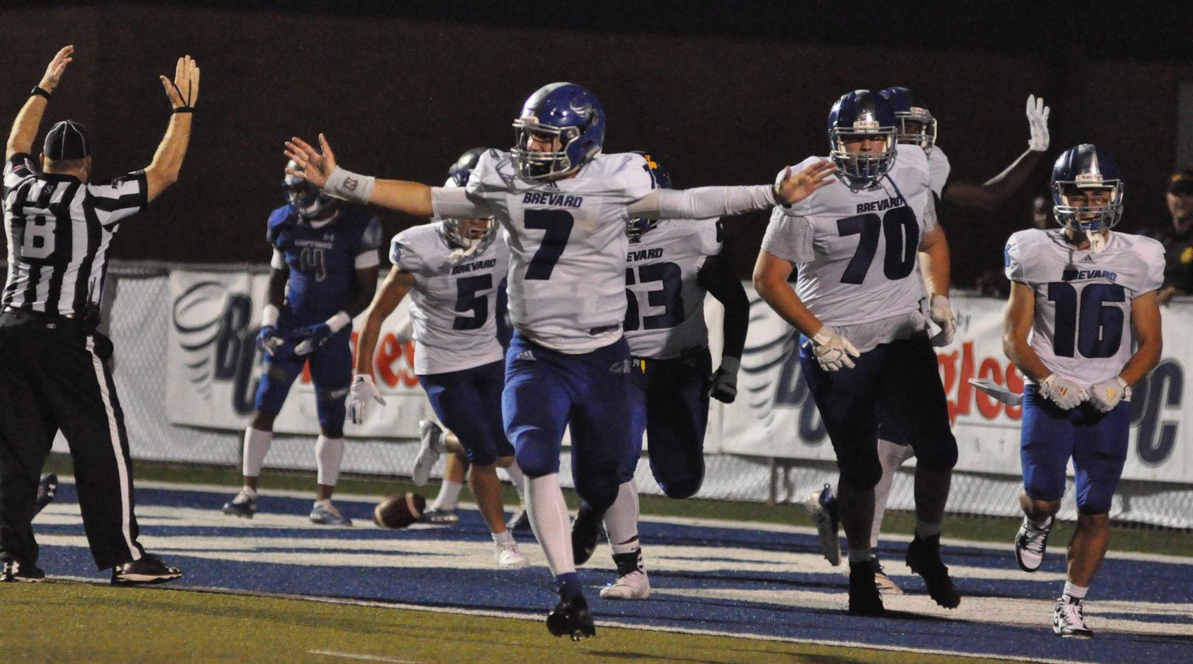 Sophomore quarterback Dalton Cole celebrates a late Tornado touchdown in a 27-6 victory over Christopher Newport on Saturday night at Brevard Memorial Stadium. Cole passed for 181 yards on 10-of-18 passing and a touchdown, while rushing for 100 yards and scoring two touchdowns (Courtesy of Tommy Moss).