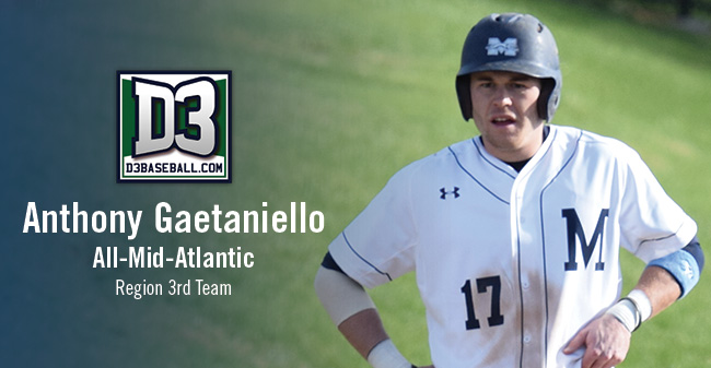 Gaetaniello Selected to D3baseball.com All-Mid-Atlantic Region Third Team