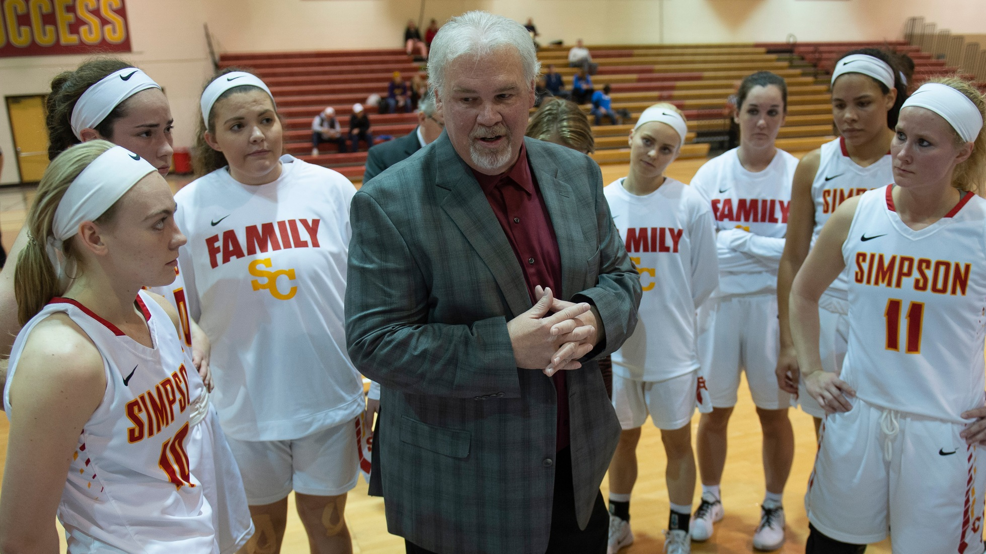 Brian Niemuth received his 600th career victory as head coach of the Simpson women's basketball team.