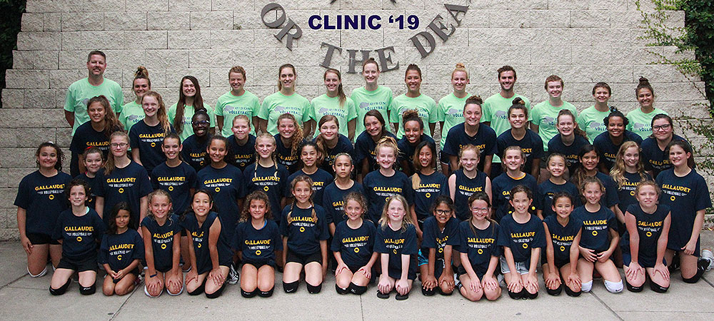2019 Gallaudet volleyball clinic group photo at TSD from June 3-7