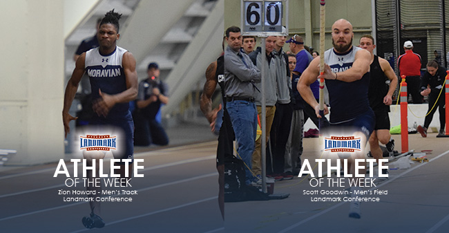 Zion Howard '21 and Scott Goodwin '19 selected as Landmark Conference Men's Track & Field Athletes of the Week.