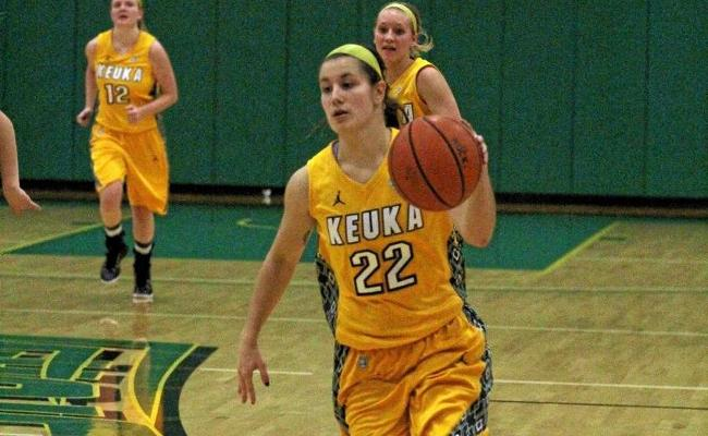 Junior Mackenzie Cole scored a career-high 13 points, but women's basketball fell to Wells College 42-38 Wednesday (photo courtesy of Ed Webber, Keuka College Sports Information department).