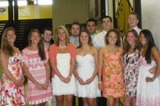 Swimming and Diving seniors at the Graduation Breakfast