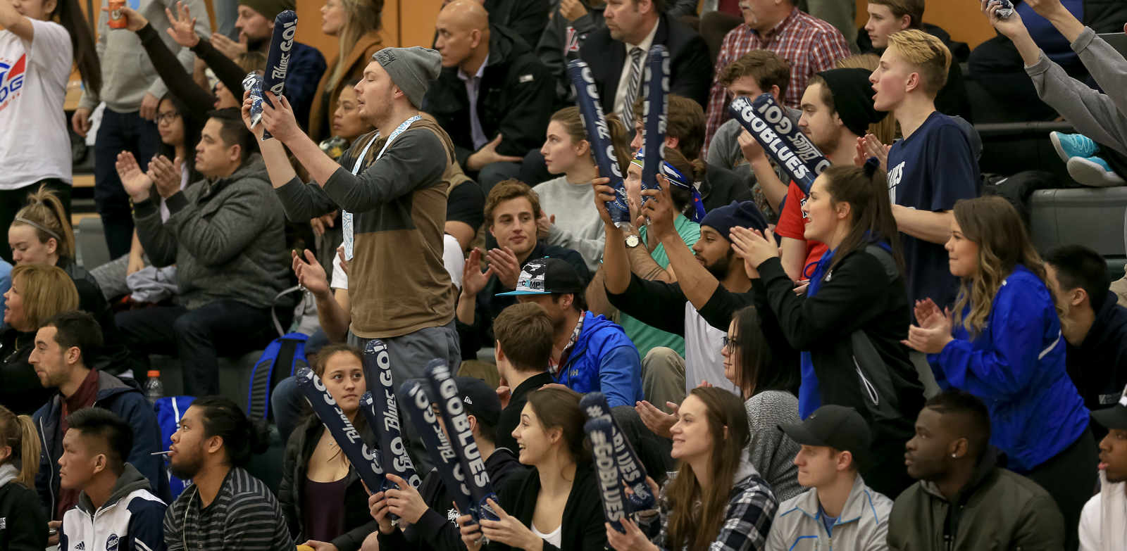 Blues fans were out in full force at the PACWEST Basketball Championships at Quest University. Photo Paul Yates / Vancouver Sports Pictures