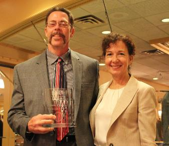 Athletics Hall of Fame inductee Bob Symons (l.) with Felician College President Dr. Anne M. Prisco.