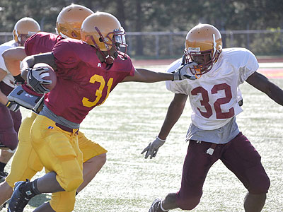 Ferris State running back Elijah Johnson carries the ball in Friday's scrimmage (Photo by Rob Bentley)