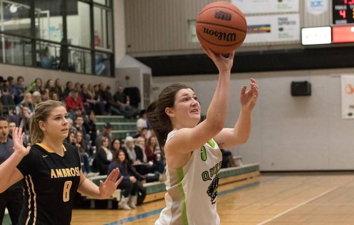 Kaylee Kuba (5) was strong on the boards and picked up 7 rebounds.  Photo - Tony Hansen