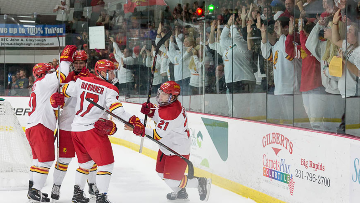 Late Charge Lifts Northern Michigan Past Ferris State Hockey In Weekend Opener