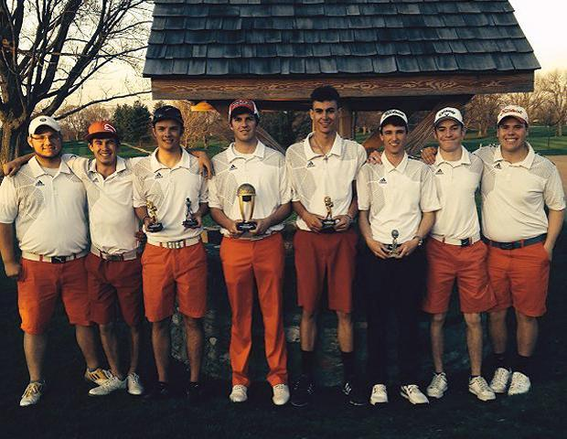 Another day, another championship for the No. 1 Owens men's golf team. Here they are after today's win. Photo by Owens Sports Information