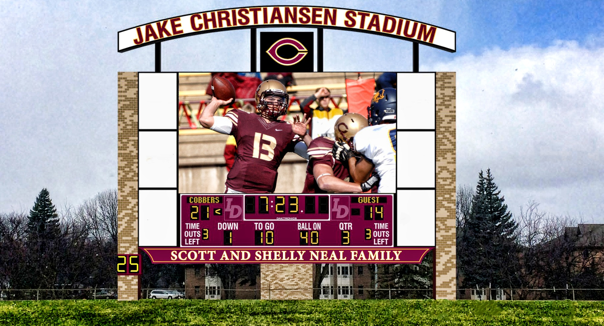 A rendering of the brand new video scoreboard on the west end of Jake Christiansen Stadium.