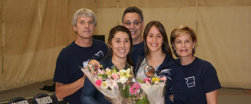 Si-Si Hensley '14 and her ffather, Scott, with Yael Einhorn '14 and her father Marty and mother Michal (photo by Jeff Boxer)