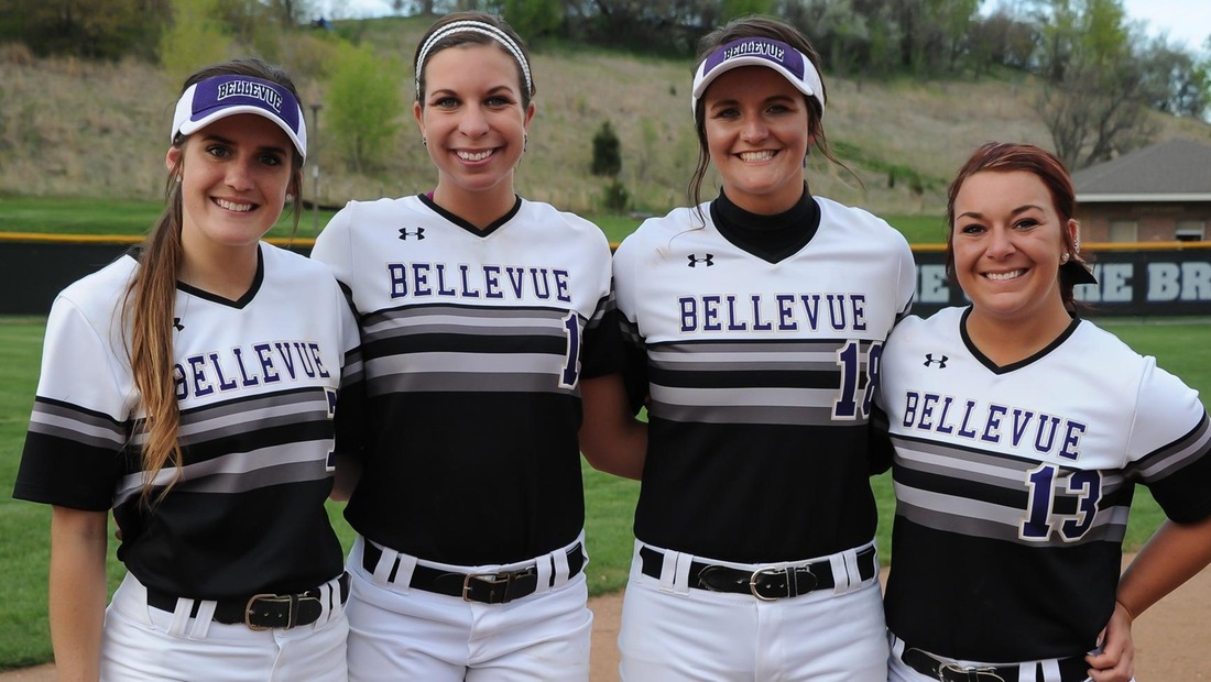 Seniors (L-R) Sydney Robertson, Kelli Fisher, Courtney Schendt, and Kaitlyn Goney were honored between games of Thursday's double-header