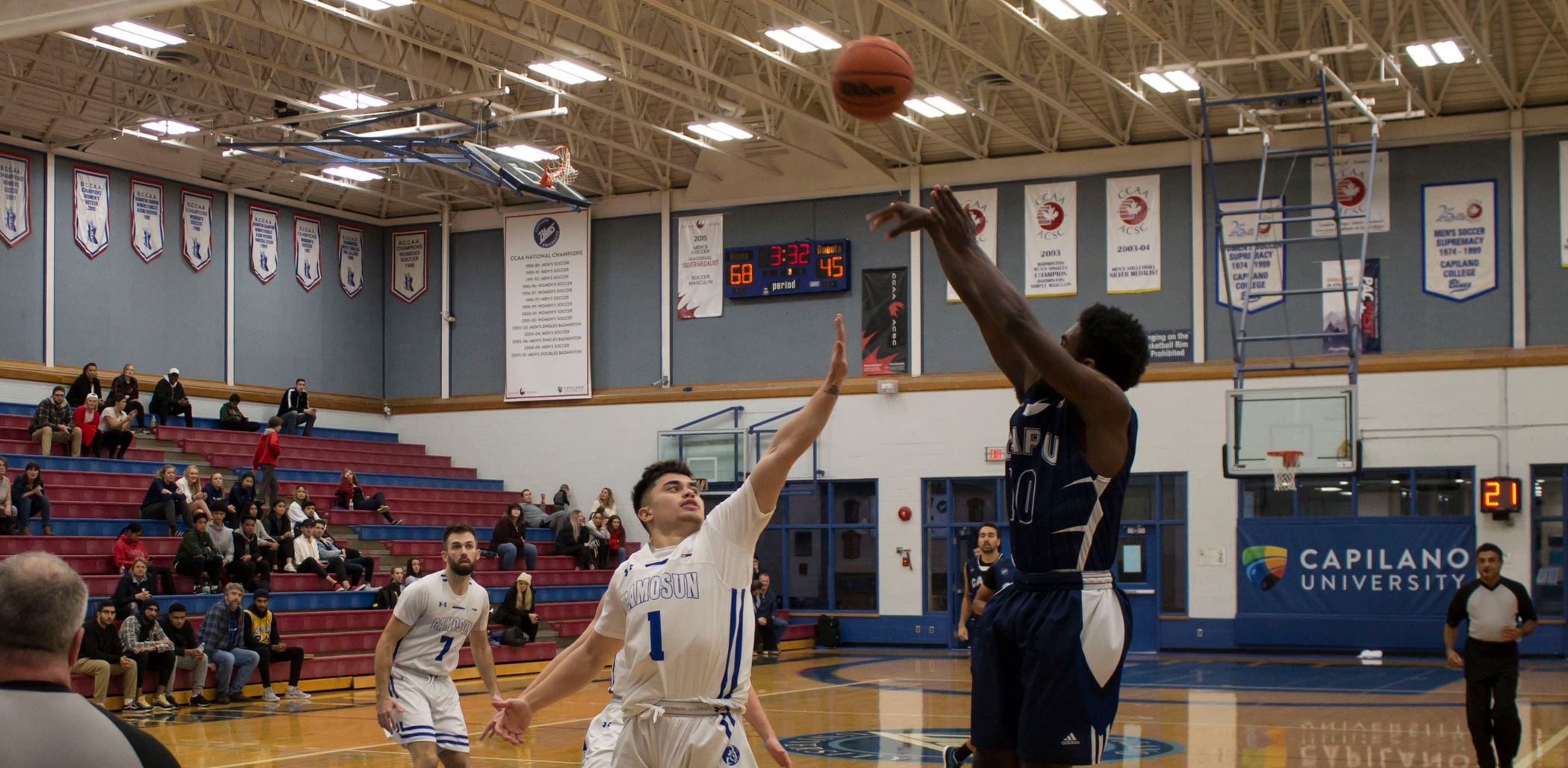 Second-year guard Kiante Knight rises for a shot in Capilano's 103-79 win over Camosun.