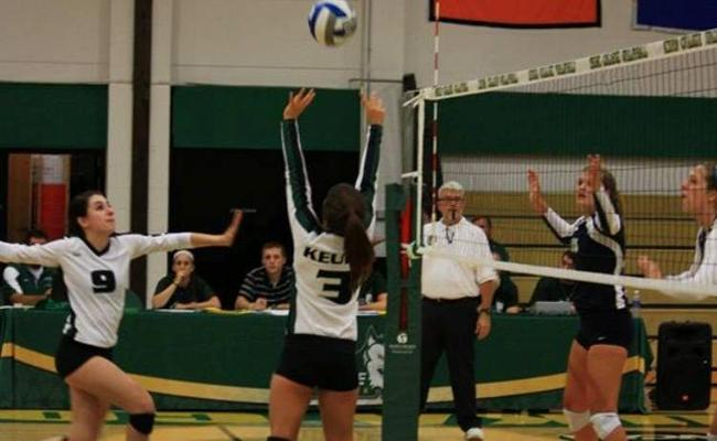 Senior Danielle Alred recorded six kills with two blocks, but the Keuka College women's volleyball team fell to Wells College in four sets Tuesday. The Wolfpack earned the No. 4 seed for the NEAC tournament (photo courtesy of Megan Chase, Keuka College Sports Information department).