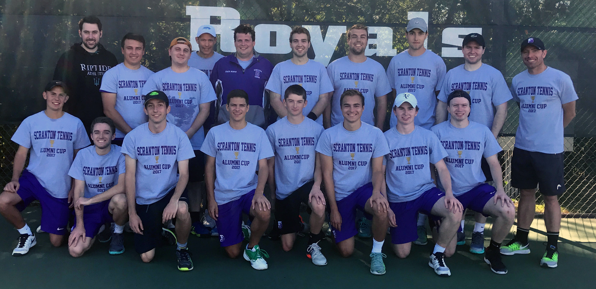 Current players and alums gathered on Sunday at Royal Courts for the Fourth Annual Men's Tennis Alumni Match.