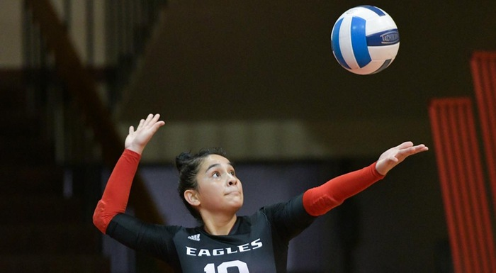 Diana Carranza serves against Central Florida. She finished with 26 digs, three blocks, and three aces. (Photo by Tom Hagerty, Polk State.)
