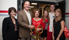 The Krehchek family with university president Laurie Joyner at the dedication of the new training facility on Oct. 5, 2012.