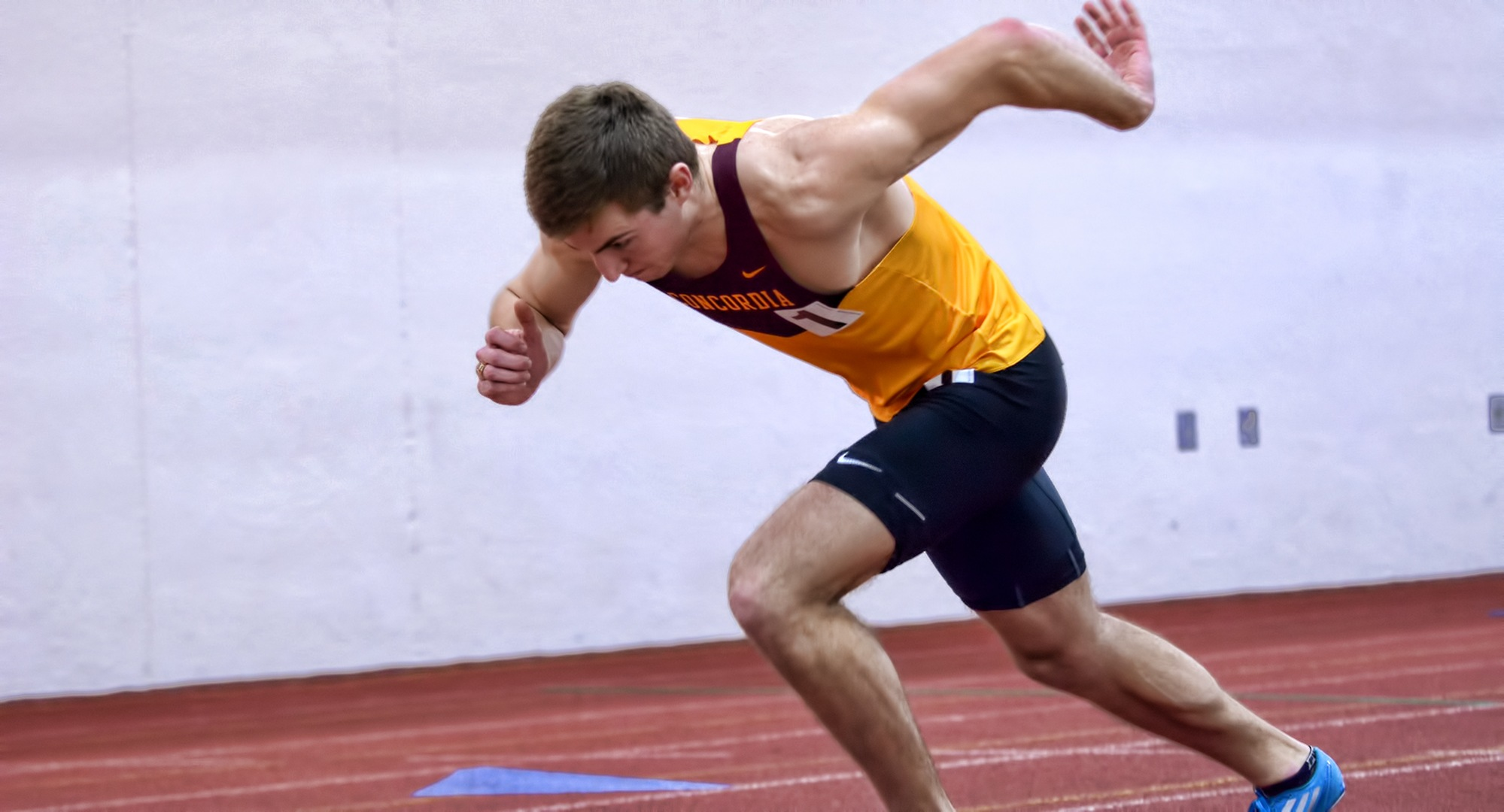 Senior David Supinski gets out of the blocks on his way to winning the 600 meters at the season-opening Cobber Open.
