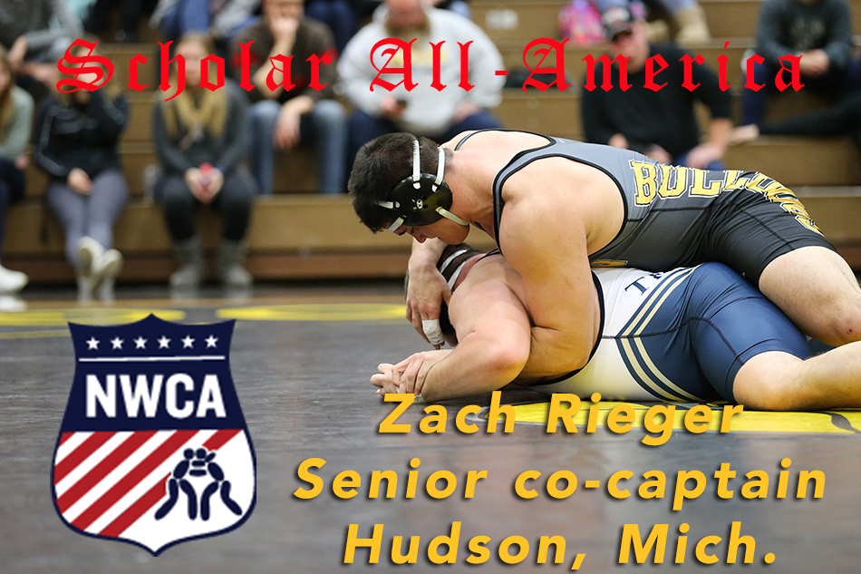 Adrian College senior wrestler Zach Rieger is a three-time NWCA Scholar All-American. (Action photo by Mike Dickie)