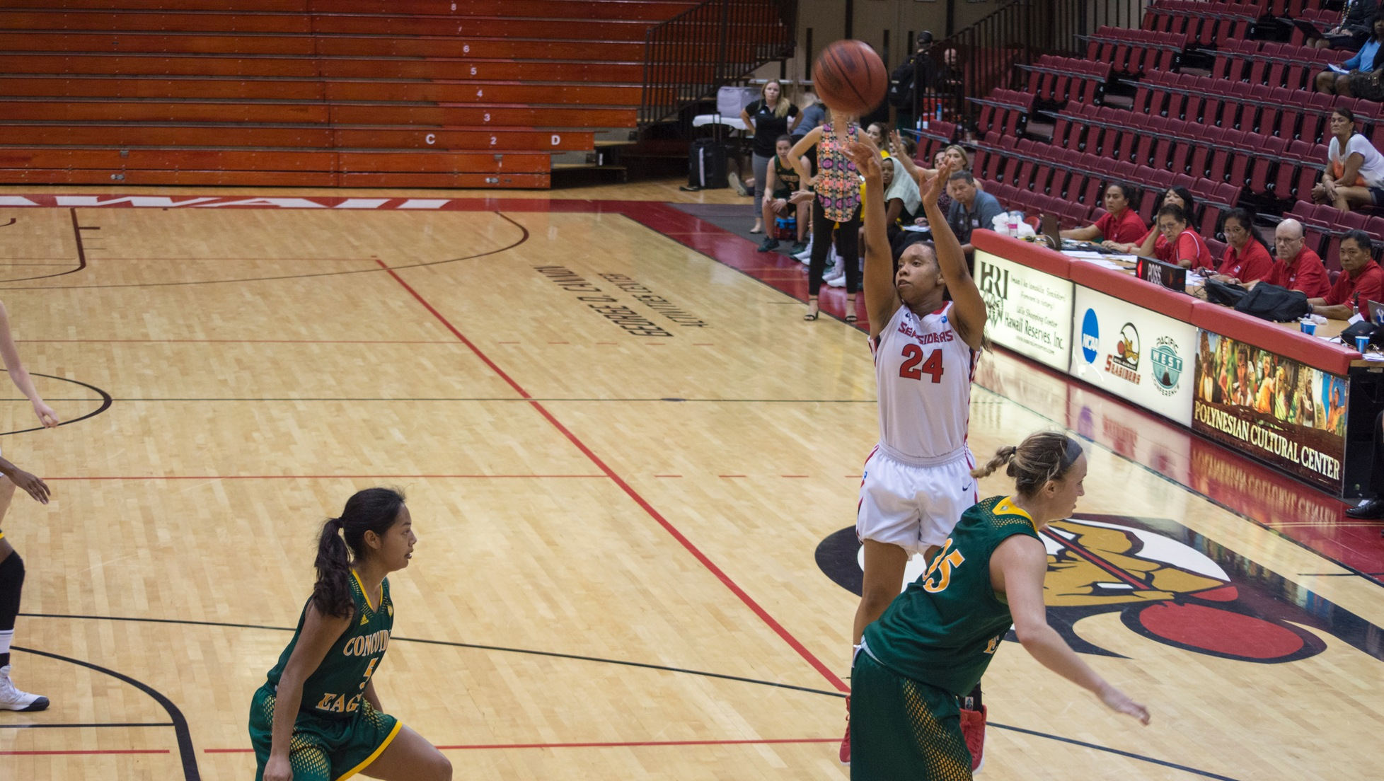Tyvette White pulls up for a jumper in the Cannon Activities Center.