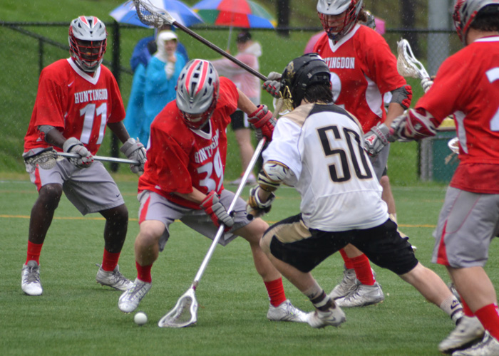 Glen Troxell (#39) battles for a ground ball in Sunday's loss to Ferrum in the SEILC title game. (Photo By Alex Smith, Piedmont College)