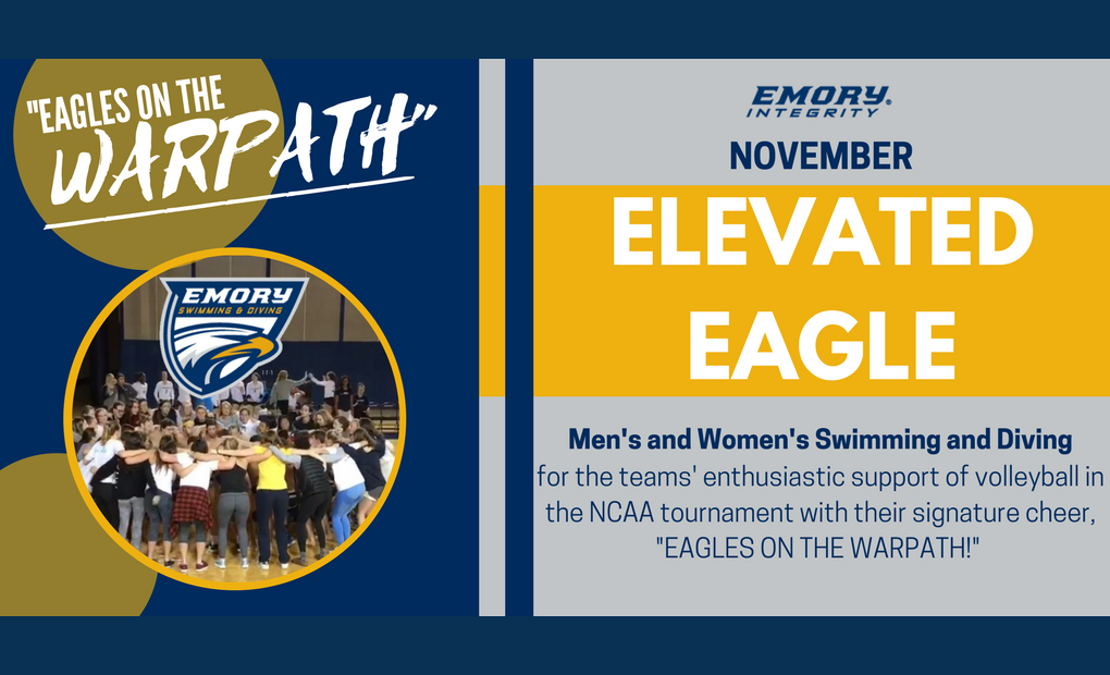 Emory Swimming and Diving Programs Named November's Elevated Eagle Award Recipient