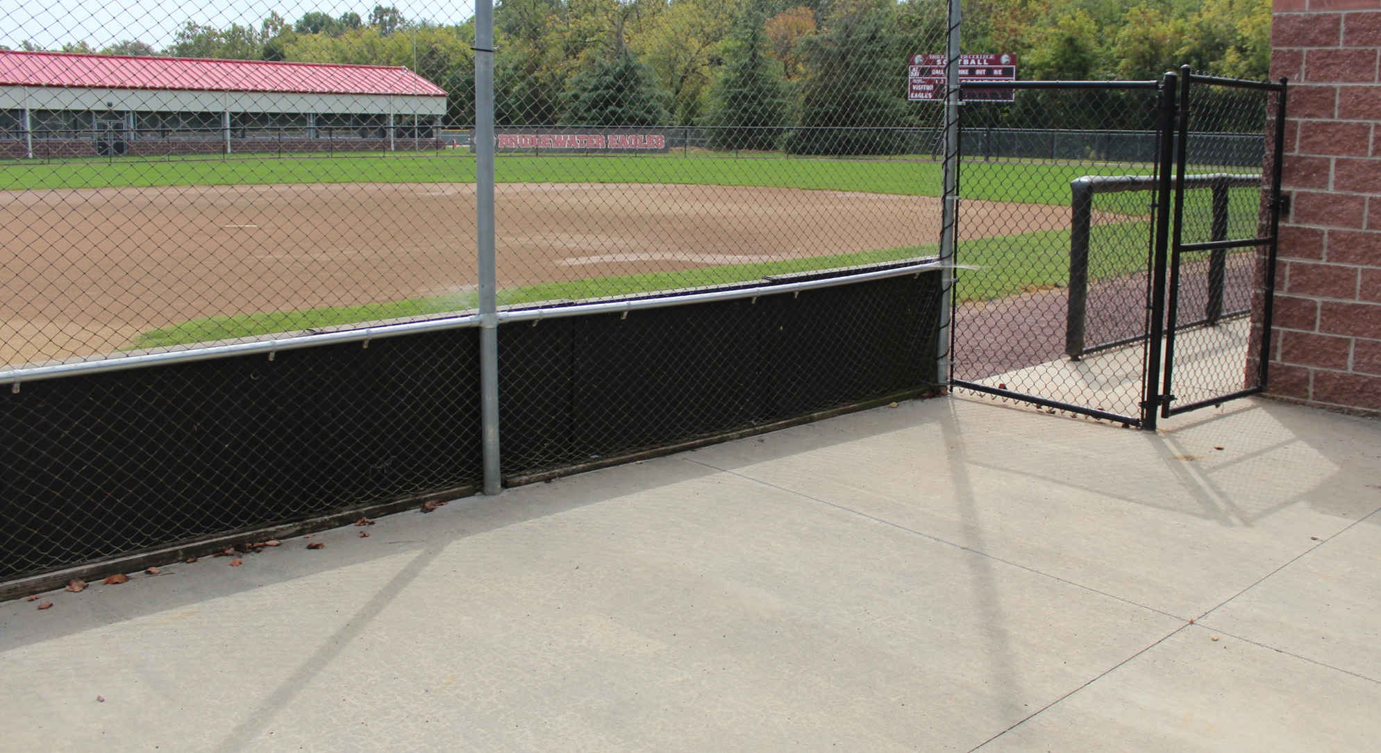 paved seating areas at softball