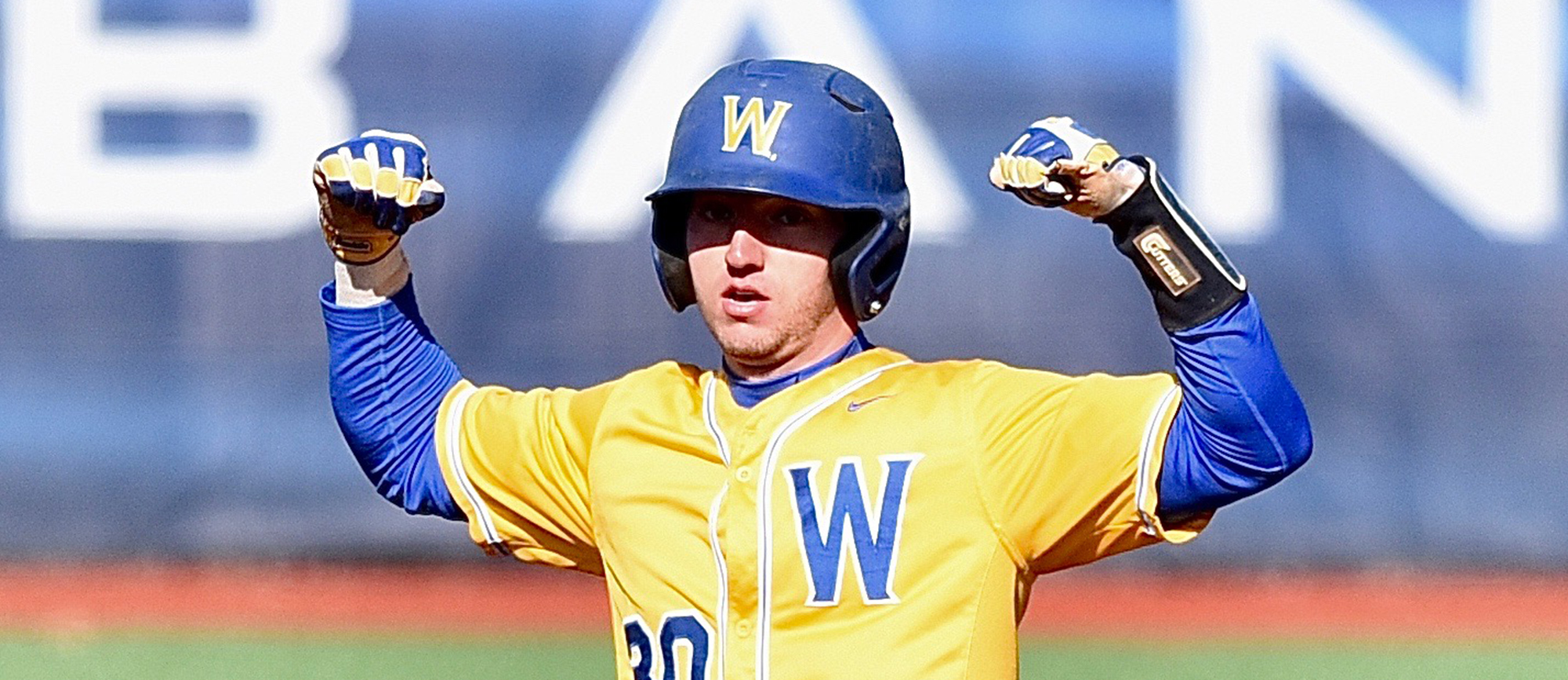 Brian Valeriano went 3-for-7 at the plate with a triple, a home run and three RBI as Western New England defeated No. 23 UMass Boston 20-8 on Thursday. (Photo by Jim Balderston)