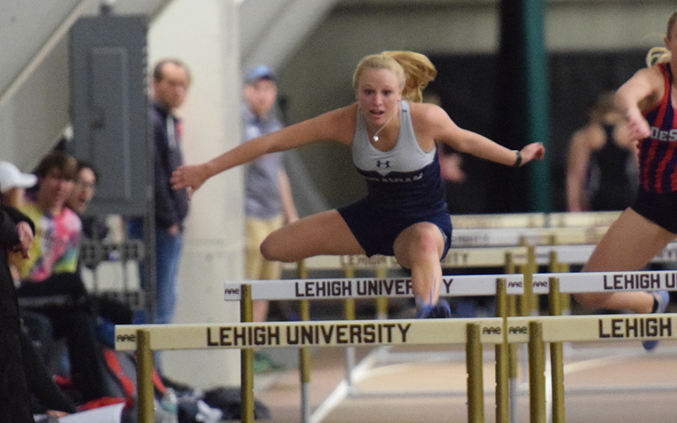 Sophomore Cat Cole competes in the 60-meter hurdles in the Moravian Indoor Invitational at Lehigh University.