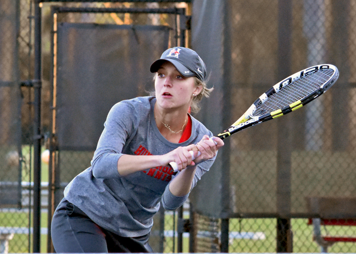 Josie Waddell won her 55th career doubles match on Sunday to become the Lady Hawks' NCAA-era leader in doubles victories.