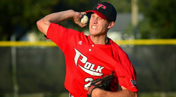 Brad Labozetta got the win as the Eagles beat St. Petersburg 7-4. (Photo by Tom Hagerty, Polk State.)