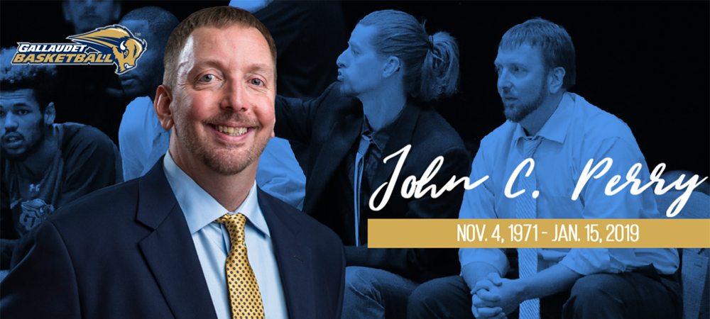 Gallaudet men's basketball assistant coach John C. Perry memorial image. A Gallaudet Basketball logo is in the upper left corner along with two photos of Coach Perry.