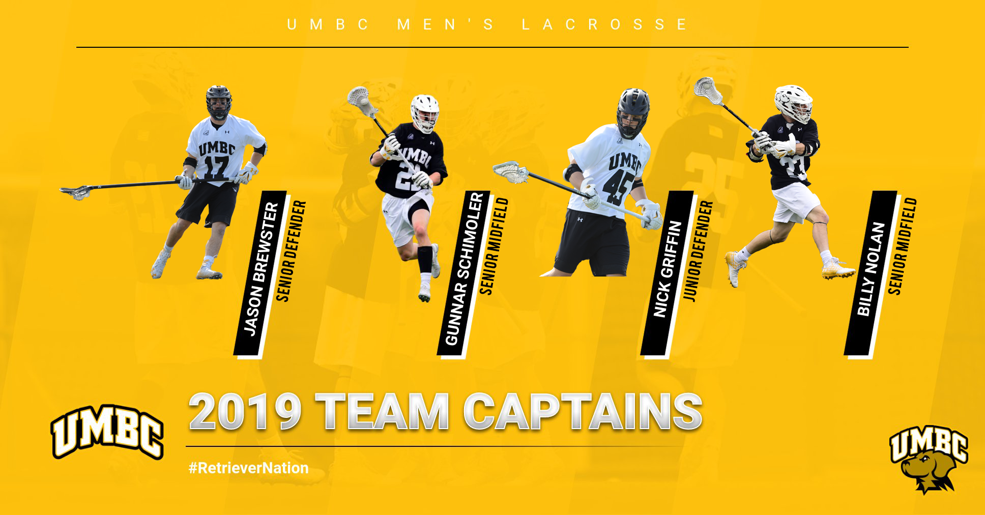 Men's Lacrosse Tabs Quartet of 2019 Team Captains