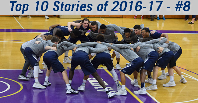 The Men's Basketball team prepares to play at The University of Scranton in 2017 Landmark Conference Championship game.