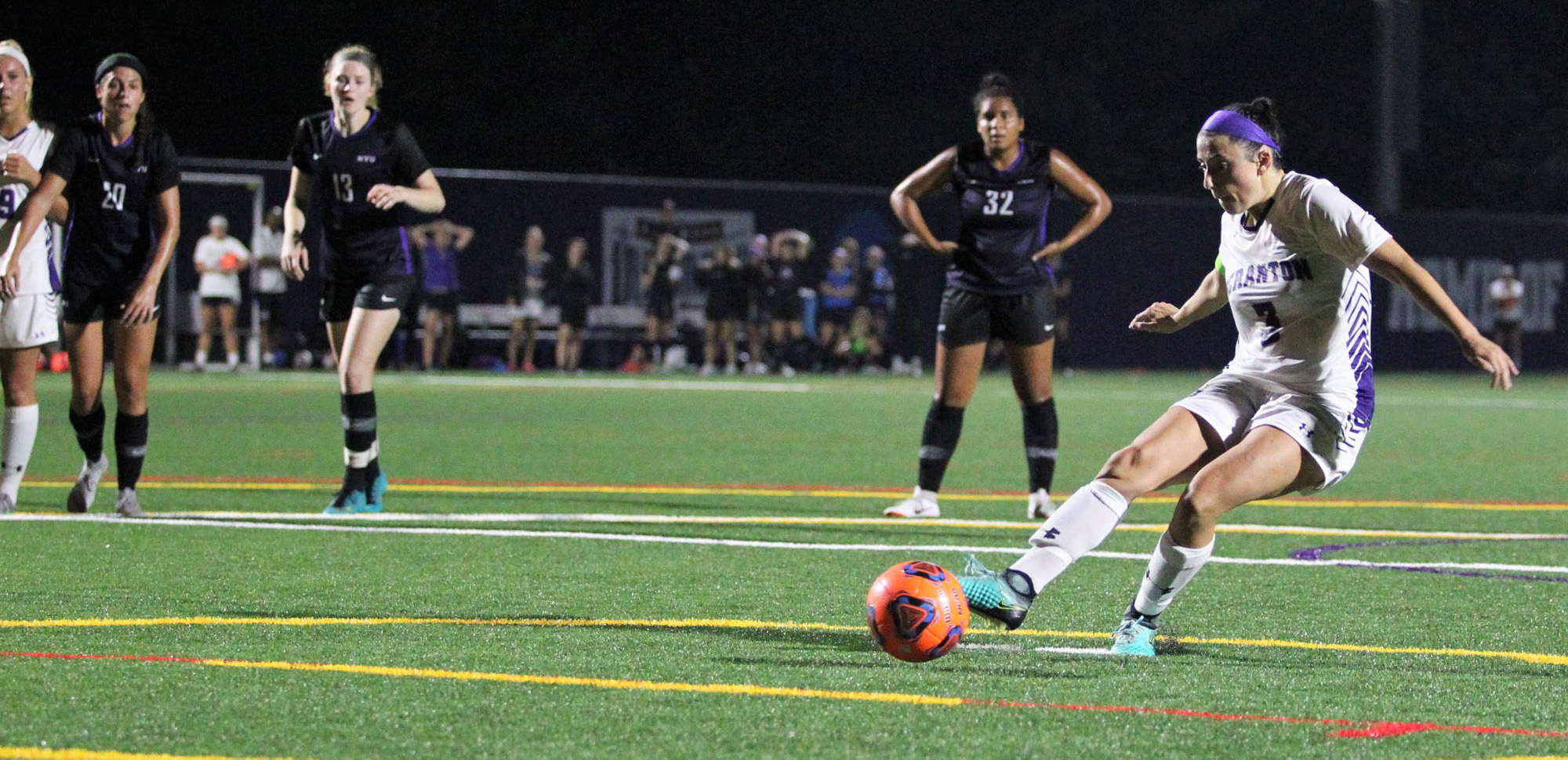 Senior Erica Licari buried this penalty kick with 12 seconds left to lift the Royals past NYU on Tuesday night.